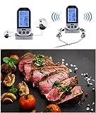 Funk Grillthermometer mit 2 Temperaturfühlern,Goldbeing Bratenthermometer Fleischthermometer für Fleisch Grill BBQ,Ofenthermometer Smokerthermometer für Steak Braten im Ofen (Silber mit Grau)