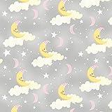 Kinderzimmer–Mond Sterne grau–wil17–von