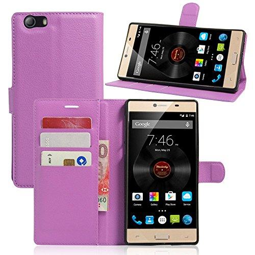 Tasche für Elephone M2 Hülle, Ycloud PU Ledertasche Flip Cover Wallet Case Handyhülle mit Stand Function Credit Card Slots Bookstyle Purse Design lila