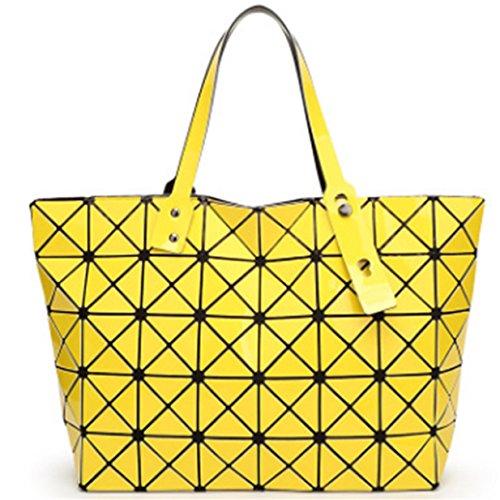 Lalang Frauen Folding Stil Geometrische Diamant Beutel Schulter Beutel Messenger Handtasche Large Bag (Silber) Gelb