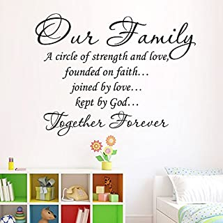 Zooarts Our Family A Circle Of Strength And Love Quote Removable Wall Stickers Art Decor Vinyl Decals Home Room Mural