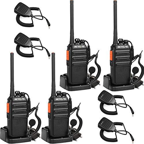 Retevis RT24 Funkgerät Lange Reichweite 16 Kanäle Walkie Talkies Headset Lizenzfrei Funkgerät mit Mikrofon Walkie Talkie Wiederaufladbar EU-Stecker Ladeschale (2 Paar, Schwarz)