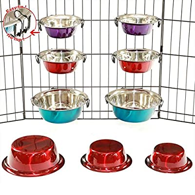 2 Stainless Steel Dog Bowls with Hooks Pet Food Water Feeder Cage Play pen Crate