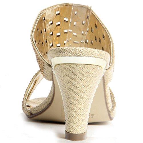 Womens Mesdames Sparkling Strass Bloc Talon Parti Chaussures Sandales à enfiler Doré