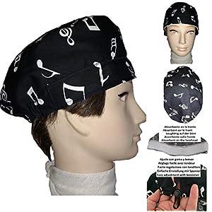 Chirurgische Kappe. Noten für kurze Haare. Frau und Mann, Chirurg, Zahnarzt, Tierarzt, Koch, etc. Handtuch auf der Stirn, verstellbarer Spanner auf der Rückseite. Handmade
