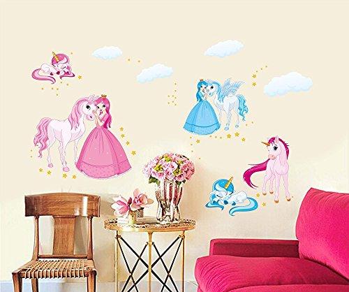 Princesa y Unicornio de Dibujos Animados Pegatinas de Pared Calcomanías de Pared de Vinilo Removibles Colores DIY para Guardería, Dormitorio de Los Niños, Mural de la Habitación de Las Niñas