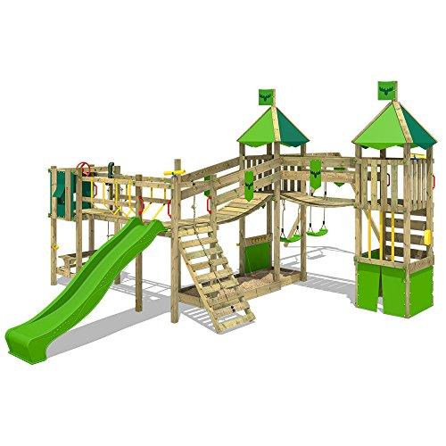 FATMOOSE Spielplatz FunnyFortress Free XXL Spielturm Kletterturm mit Doppelschaukel, Rutsche, Picknicktisch und Wackelbrücken