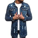 IMJONO Clearance!Mens ' Herbst Winter Lange Ärmel Vintage notleidende Demin Jacke Top-Mantel-Outwear (Large,Dunkelblau)