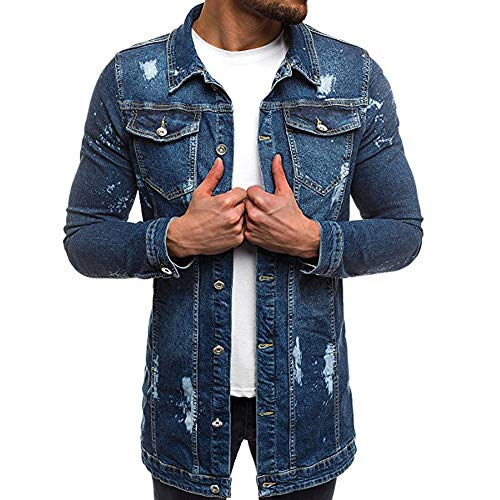 AMUSTER Herren Jacke Ripped Denim Jacket Herren Jeansjacke Sherpa Denim Jacket Herren Jeansjacke Biker Style Jeans Jacket Blue Denim Jacke Blau Vintage Distressed Jacket Distressed Denim Jacket