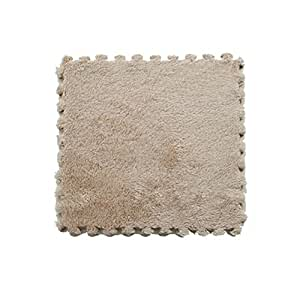 Fluffy en mousse autobloquantes Dalles en mousse EVA Tapis de Sol (8.64cm², 9, carrelage, camel)