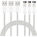 maxgadget Lightning Kabel, 3 Pack 1 m Nylon geflochten Lightning auf USB Ladekabel Kabel iPhone Ladegerät Kabel für iPhone X/8/8 Plus/7/7 Plus/SE/6S/6 PLUS/6, iPad Air 2, iPad/Pro und Silber & Weiß