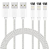 MAXGADGET Lightning Cable, 3 Pack 1M Nylon Braided Lightning to USB Charging Cables iPhone charger cables for iPhone X/8/8 Plus/7/7 Plus/SE/6s/6 Plus/6, iPad Air 2, iPad Pro and More- Silver&White