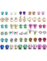30 Pairs Stainless Steel Mixed Color Cute Animals Disco Ball Star Love Heart Crown Stud Earrings Set for Women Girls