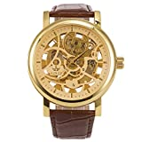 ManChDa Montre Bracelet pour Homme Brown Leather Band Big Case 48MM XL-Large Automatic Mechanical Crystal Dial en Or + boîte Cadeau