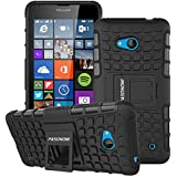 Lumia 640 Funda, Pasonomi® [2 en 1] Heavy Duty silicona híbrida con soporte Cáscara de Cubierta Protectora Funda Caso para Microsoft Lumia 640 (Negro)