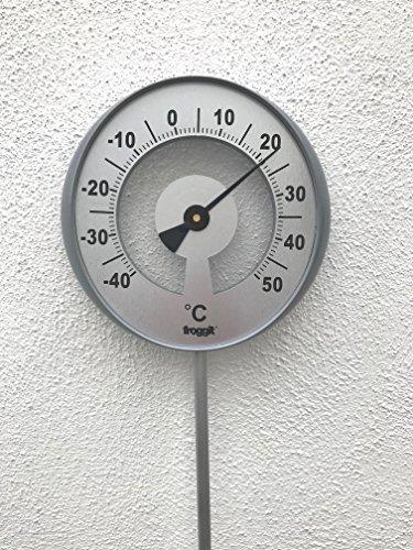 froggit XXL Gartenthermometer (bis zu 117cm Hoch) Außenthermometer mit Großer Temperaturanzeige