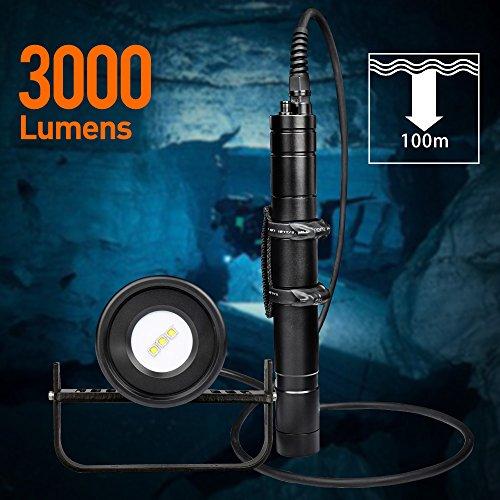 Odepro WD70V Fotografie Kanister Tauchen Licht 3000 Lumen Tauchen Taschenlampe