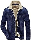 Minetom Herren Winter Warm Velvet Kragen Schlank Passen Cowboy Jacke Im Freien Mäntel Trenchcoat Denim Jeansjacke Wintermantel Blau A EU L