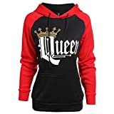 Pärchen-Hoodie KING & QUEEN ,Yezelend Couple Outfit Liebespaar Casual Pullover Schwarz Crew Neck Sweatshirt Tops…