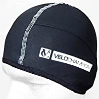 VeloChampion Thermo Tech Cycling Skull Cap – Windproof Thermal Under Helmet Hat – Stretchable Tight/Snug Fit Head Warmer – Ideal as Running Hat, Cycling Skull Cap or Sports Beanie (Black)