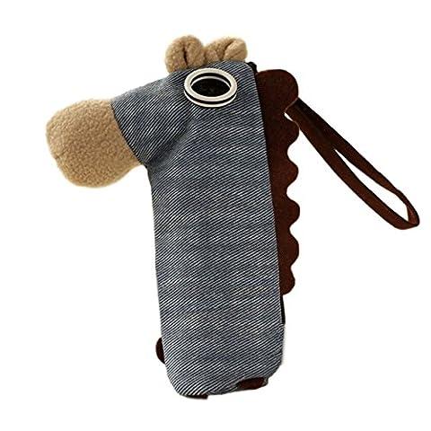 Kreativ genähtes Schreibmäppchen / Federpennal / Federmappe / Stiftebox aus Leinen Stoff in der Form eines süßen Ponys/Pferdchens inkl. Knopfaugen (mit Reißverschluss) (Blau)