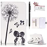 Felfy Samsung Galaxy Tab 4 7.0 inch SM-T230/T231/T235 Colorful Drawing White and Black Dandelion Kids Pattern Premium Pu Leather Wallet Flip Smart Book Case Stand Cover +1x Pink Cat Dust Plug +1x Black Stylus