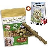 Woofles Katzenminze Katzenspielzeug 8 Sticks + Gratis E-Book, Unsere Matatabi – Katzensticks/Kausticks Helfen spielerisch Bei Zahnstein, Mundgeruch & Zahnpflege
