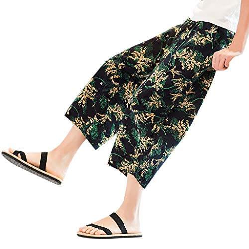 Xmiral Shorts Caprihose Herren Nationaler Stil Gedruckte Kordelzug Elastische Taille Beiläufige Shorts Cargohose Party Haremshosen(B Gelb,5XL) -