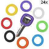 24pcs Multi-Colors elasticidad tapas de clave Etiquetas Etiqueta funda anillos identificar su clave en diferentes colores