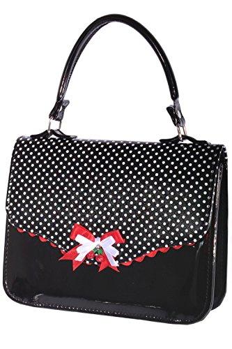 SugarShock Damen vintage Polka Dots retro rockabilly Tasche BOW Cherry LACK Handtasche