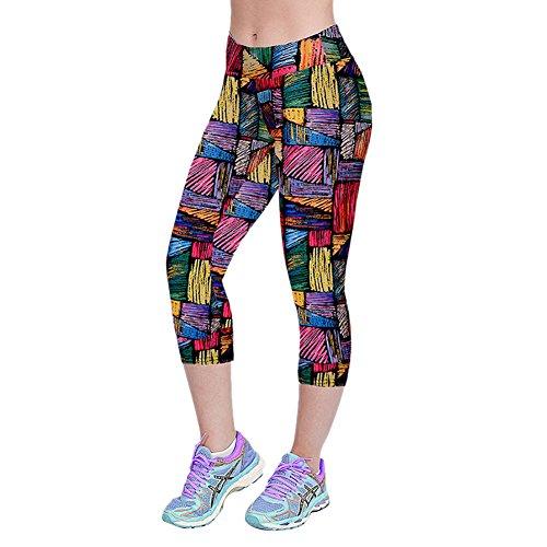 iBaste Leggings de Sport Femme imprimé Jogging Yoga Pantalons Taille Haute Capri Style 6