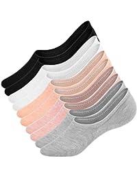 UMIPUBO 10 Pares Calcetines para Mujer Invisibles De Algodón Calcetines Cortos Elástco Con Silicona Antideslizante Anti-olor