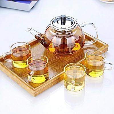 Pot en verre résistant à la chaleur en acier inoxydable Pot filtre théière électrique bouilli Set 900ml (verre + 4 \ 6 tasses + plateau Plateau) ( Style: A )