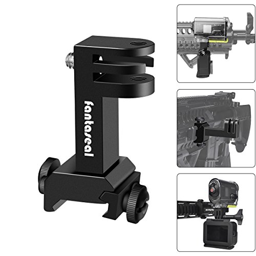 2in1 Picatinny Rail Halterung Aluminium Airsoft Action Kamera Adapter und Rail Adapter für Airsoft AR-15 M4 M16 fit für GoPro Hero 6/5/4/3+/3/Session SJCAM Garmin Xiaomi Yi +GoPro ähnliche Actioncam -