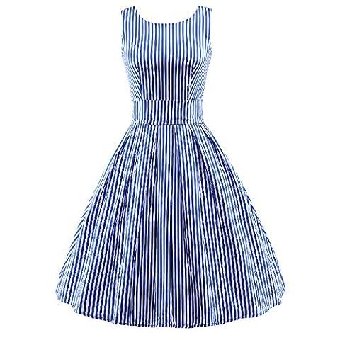 iLover Vintage Rockabilly gestreiften Kleid Hepburn Stil Partykleid Cocktailkleid 50er Jahr Abendkleid Blau M
