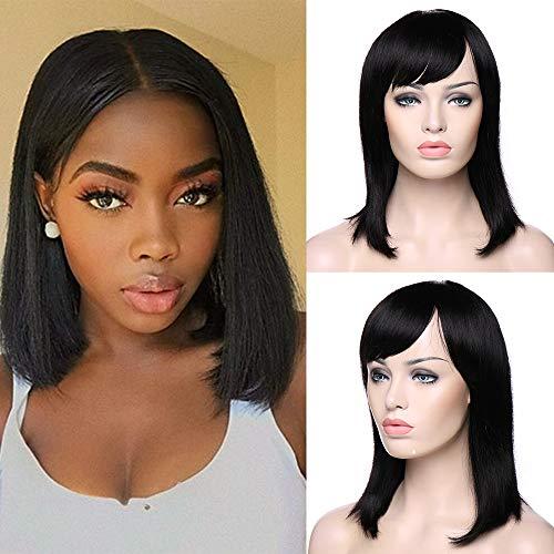 ke Bob Brasilianische Haare Schwarz Kurz Human Hair Wig Glatt günstig Perücken #1B #1B 14