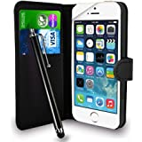 GAPlus® Black Leather Flip Wallet Slim Case Cover Pouch With Card Holder For Apple iPhone 4 / 4S + Free Screen Protector With Polishing Cloth And Stylus Pen (Black Wallet)