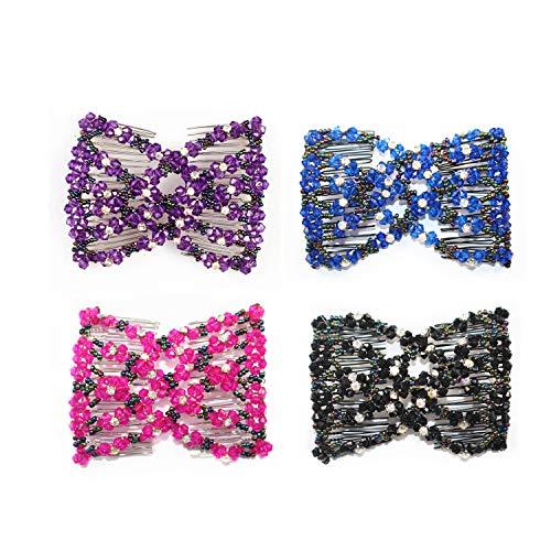 Ever Fairy Haarkamm mit Perlen, doppelt, für Frauen und Damen, dehnbar
