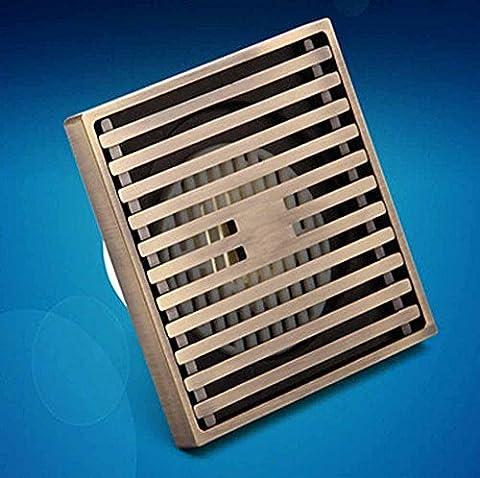 KHSKX Mode einfach Badezimmerboden entwässert, Verlagerung von ultra-dünnen universal Antik Bronze Zeichnung Oberfläche und geruchsabweisend Bodenablauf