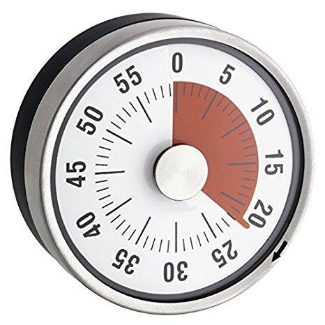 Ø 6x 3,5cm–Kurzzeitwecker, mechanisch–Edelstahl–Magnetisch -