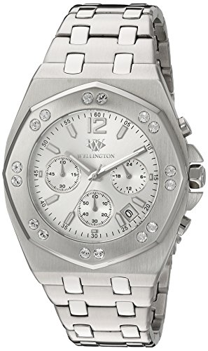 Wellington Darfield Men's Quartz Watch with Black Dial Chronograph Display and Silver Stainless Steel Bracelet WN511-111