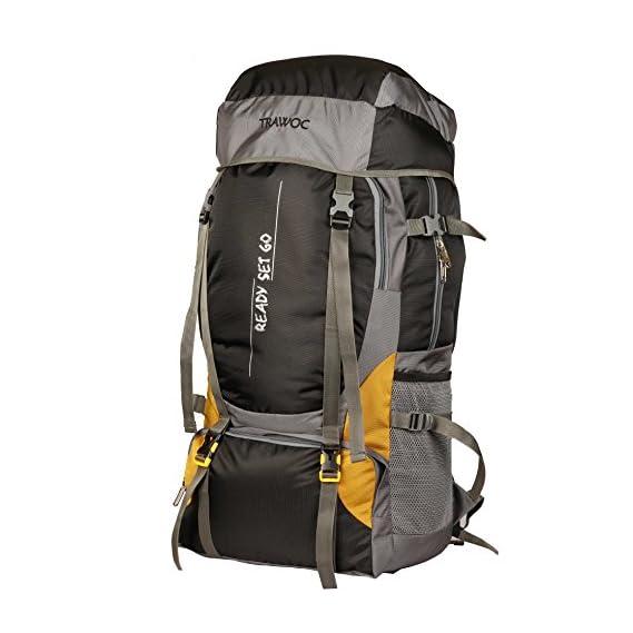 TRAWOC 55 Ltr Travel Backpack for Outdoor Sport Camping Hiking Trekking Bag Rucksack, Black