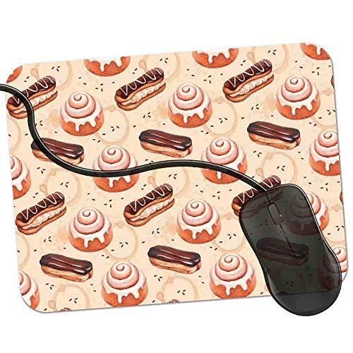 Gaming Mauspad Gefrorenes Brötchen-Schokoladen-Eclair-Design Fransenfreie Ränder spezielle Oberfläche verbessert Geschwindigkeit und Präzision rutschfest 2K320 (Schokolade Brötchen)