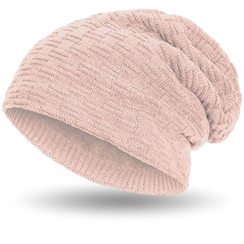 Compagno Beanie Gorro de invierno de punto cesta con suave interior de forro polar, Color:Rosa fucsia