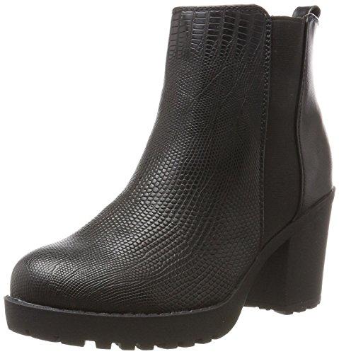 Fritzi aus Preußen Damen Nanja Chunky Heel Stiefel, Schwarz (Black Snake), 37 EU (Damen Chunky Booties Heel)