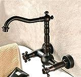 THk&M Robinet de lavabo en cuivre de style européen double trou dans le robinet de bain de mur eau chaude et froide, D