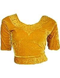 Oro Terciopelo Top Blusa Choli para Bollywood Sari Talla S