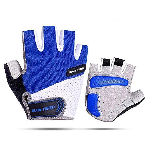 CocoBella Herren Fahrradhandschuhe Mit Gel Fingerlos Kurz MTB Handschuhe Sommer(Blau,L)
