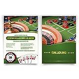 Einladungskarten zum Geburtstag (30 Stück) Casino Roulette Poker Spielkarten