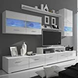 vidaXL Siebenteilige Wohnwand mit LED Hochglanz Weiß 250 cm